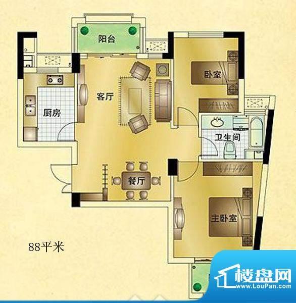 星汇半岛普通住宅A3面积:88.00m平米