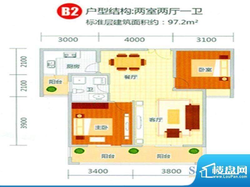 新东城户型图2 2室2面积:97.20m平米