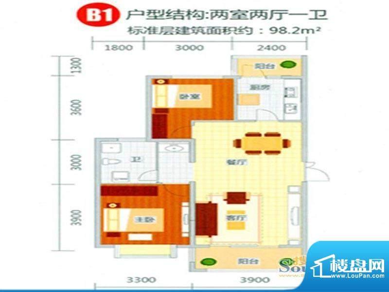 新东城户型图1 2室2面积:98.20m平米