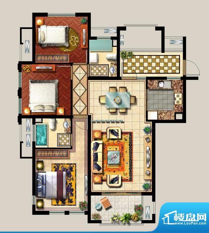 西西那堤三期A户型家面积:124.00m平米