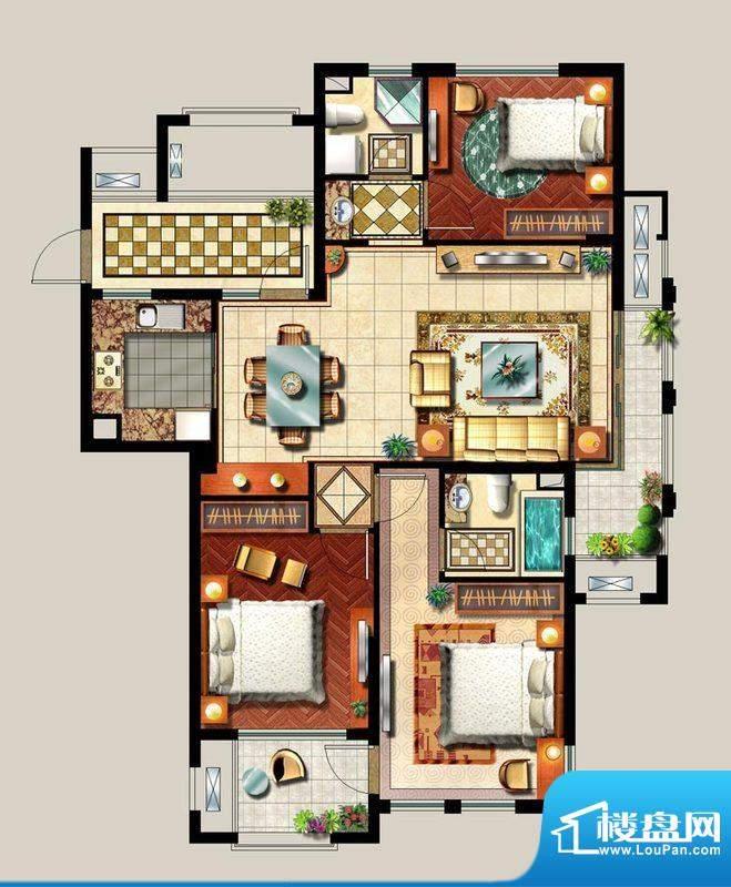 西西那堤三期C户型家面积:127.00m平米