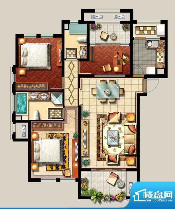 西西那堤三期D户型家面积:122.00m平米