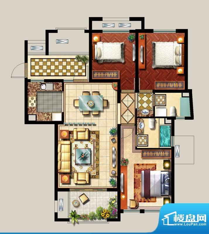 西西那堤三期E户型家面积:125.00m平米