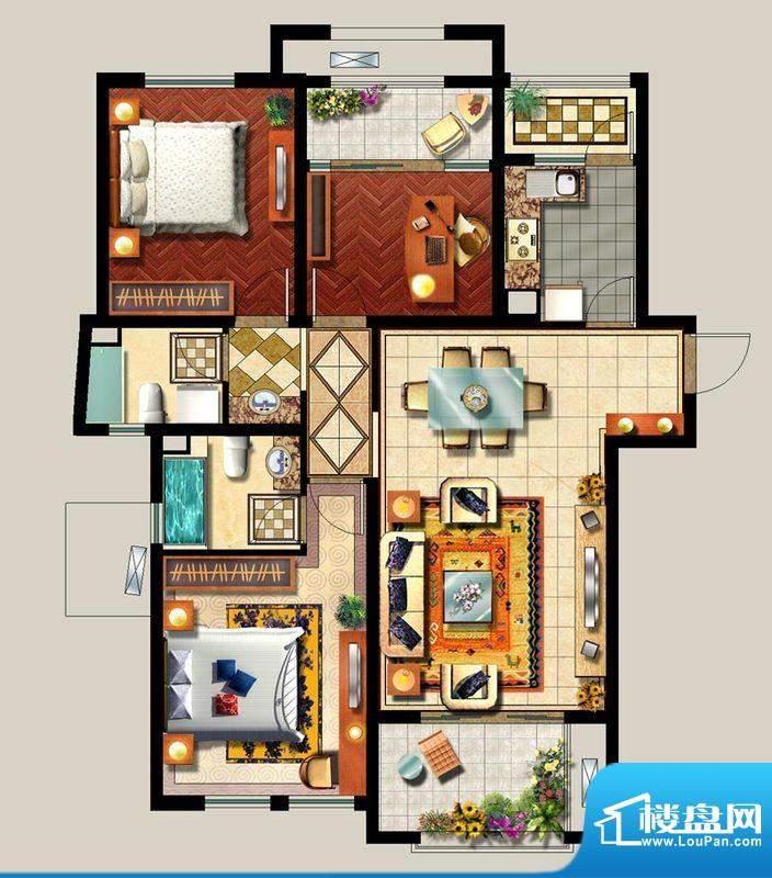 西西那堤三期F户型家面积:120.00m平米
