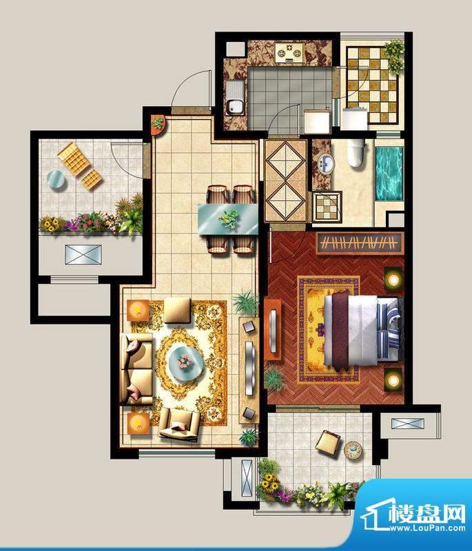 西西那堤三期G户型家面积:85.00m平米