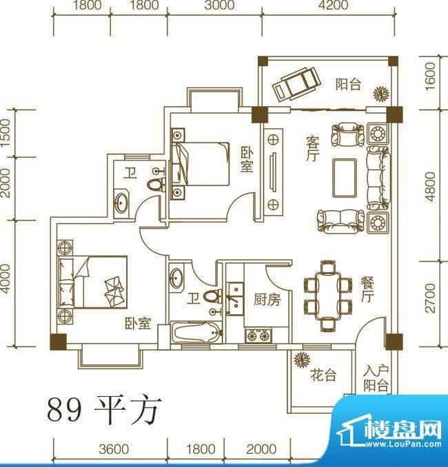 紫荆府两房户型图 2面积:89.00m平米