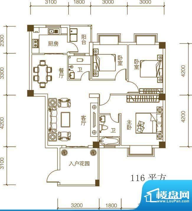 紫荆府三房户型图 3面积:116.00m平米