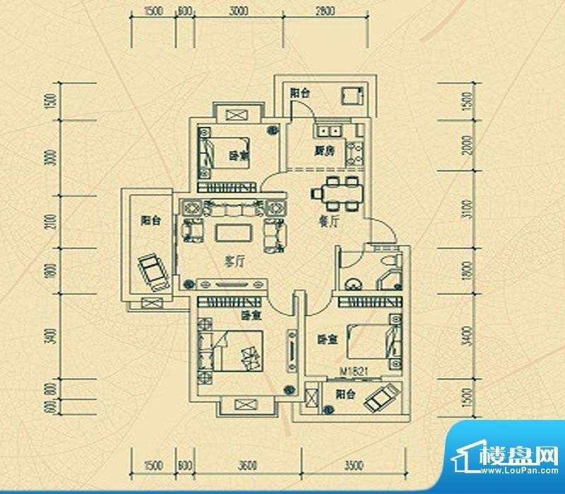 华瑞园C户型 3室2厅面积:0.00m平米