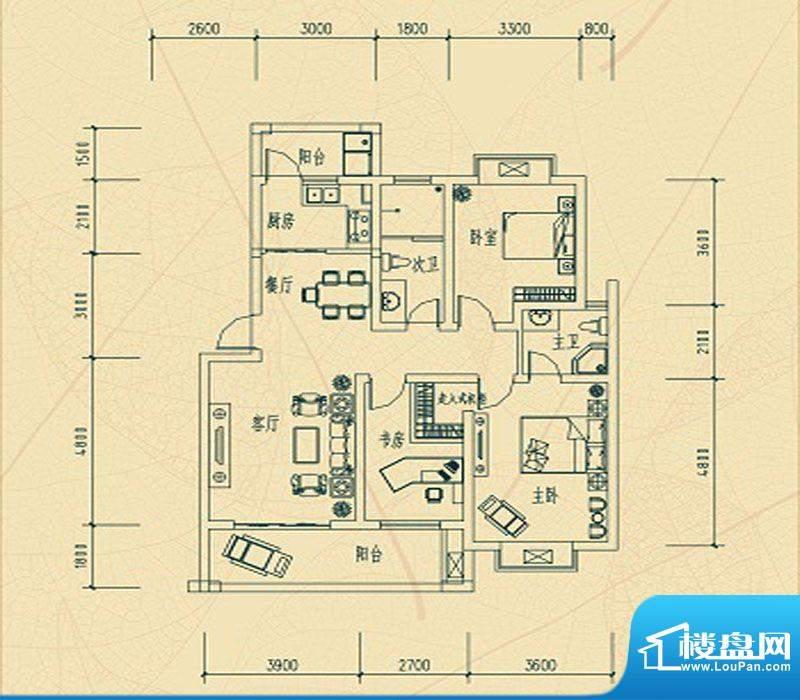华瑞园B户型 3室2厅面积:0.00m平米