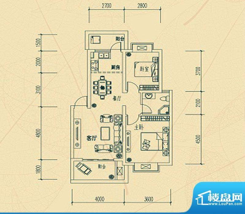 华瑞园D户型 2室2厅面积:0.00m平米