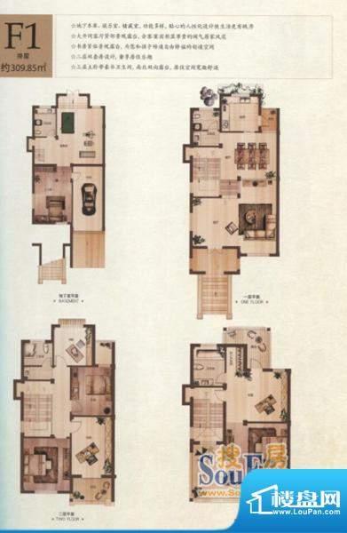 半岛领邸F1户型 8室面积:309.85m平米