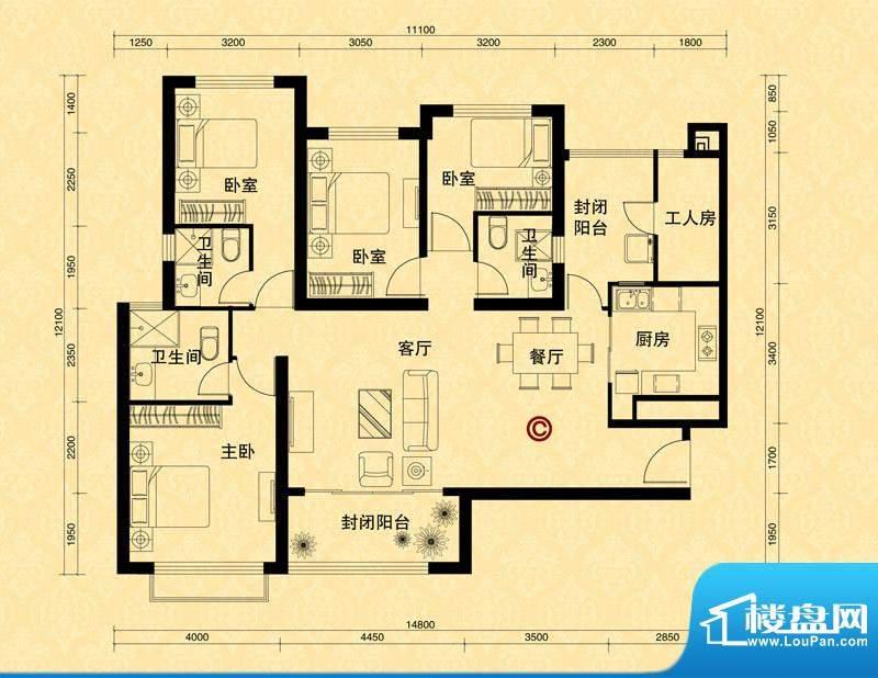 恒大雅苑5#楼2单元C面积:166.05m平米