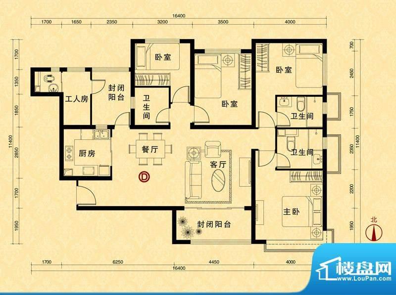 恒大雅苑5#楼2单元D面积:170.53m平米