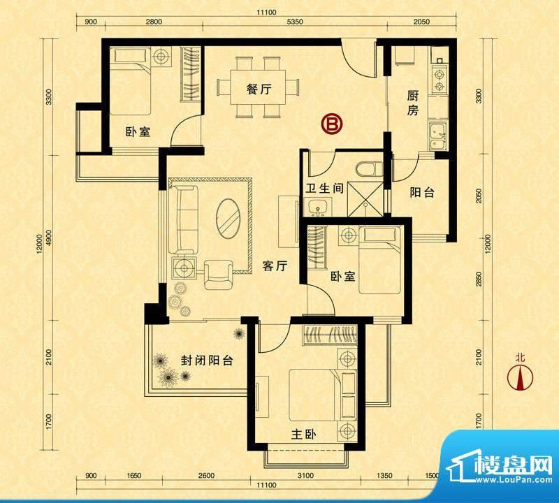 恒大雅苑5#楼2单元B面积:103.98m平米