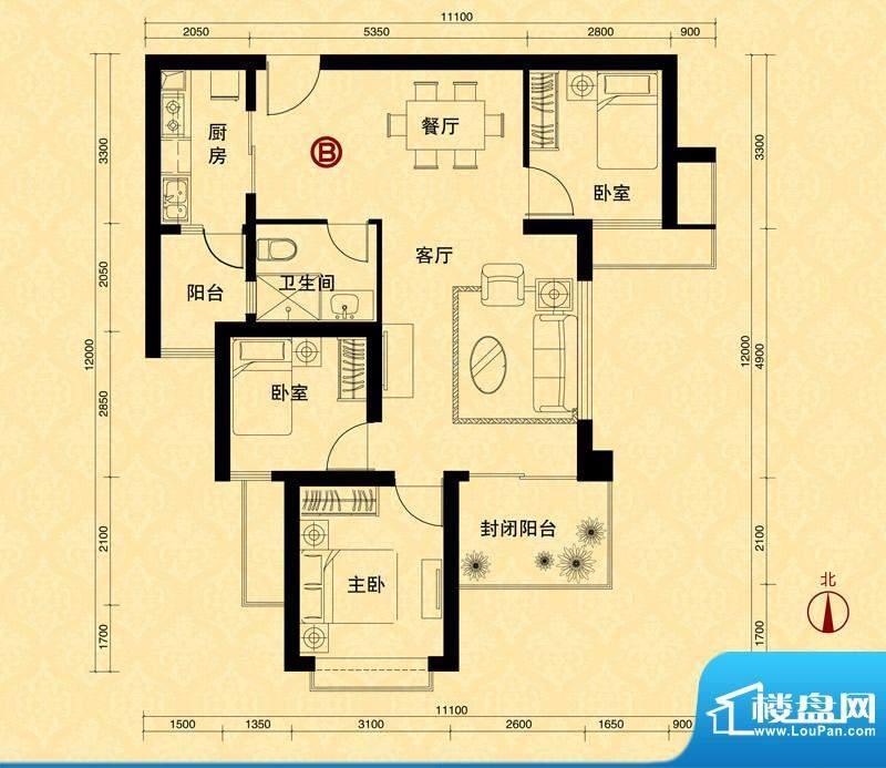 恒大雅苑5#楼1单元B面积:103.98m平米