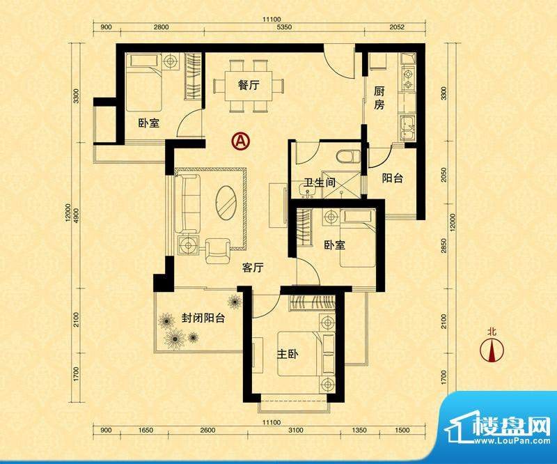 恒大雅苑5#楼1单元A面积:103.98m平米