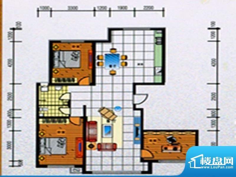 融誉国际广场户型图面积:163.00m平米