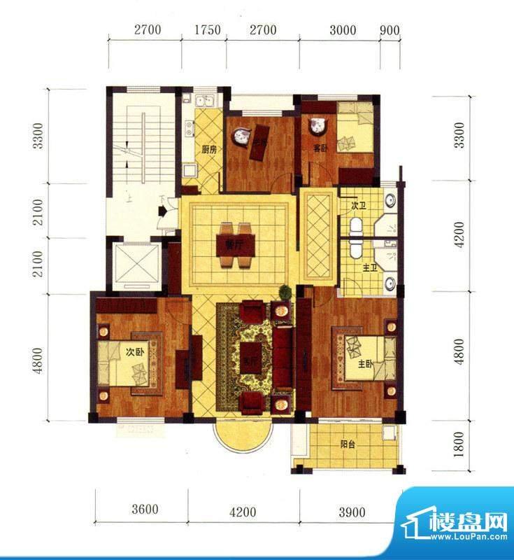 罗马风情城电梯花园面积:129.00m平米