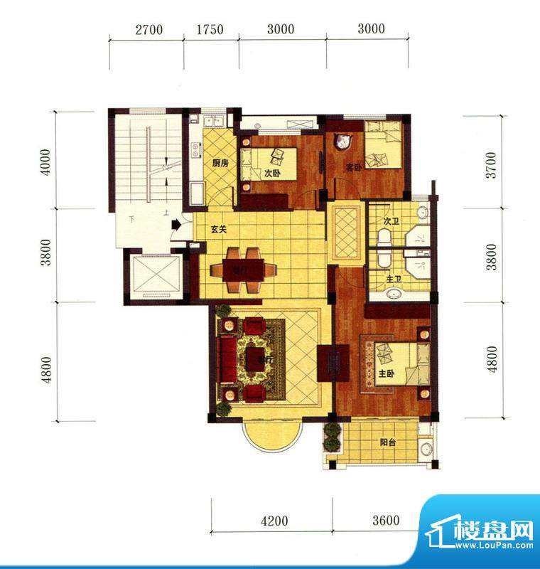 罗马风情城电梯花园面积:114.00m平米