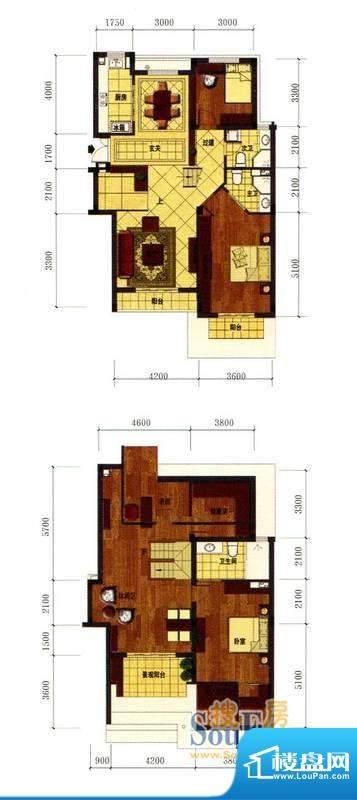 罗马风情城电梯花园面积:117.00m平米