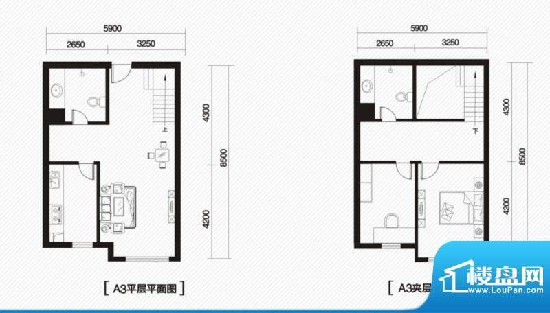内大翡翠城5#楼A-3户面积:65.00m平米