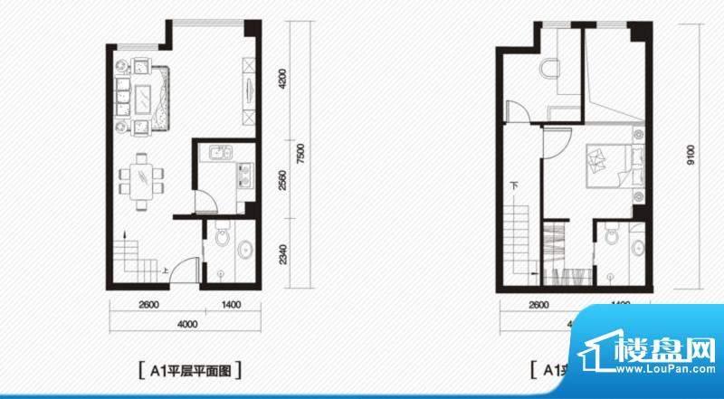 内大翡翠城1#楼A-1户面积:75.00m平米