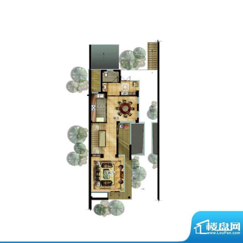 升华璞墅J户型一层3面积:307.00m平米