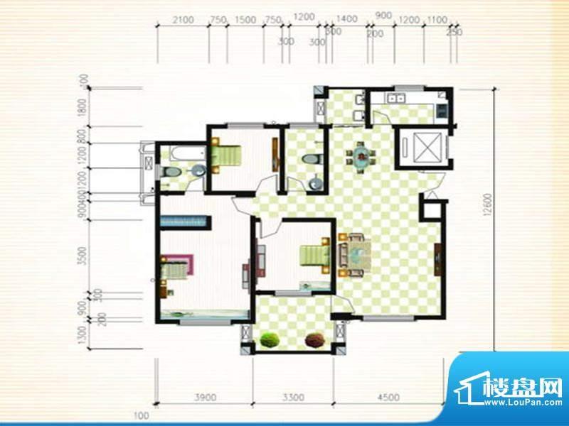 馨雅如B户型 3室2厅面积:132.01m平米