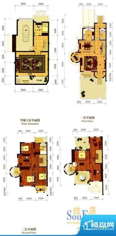 罗马风情城别墅法式面积:382.00m平米