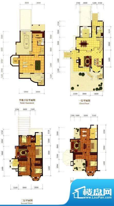 罗马风情城别墅法式面积:328.00m平米