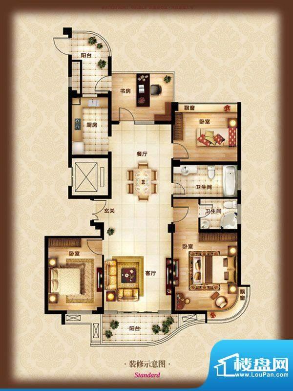 金色水岸A-4 4室2厅面积:156.00m平米