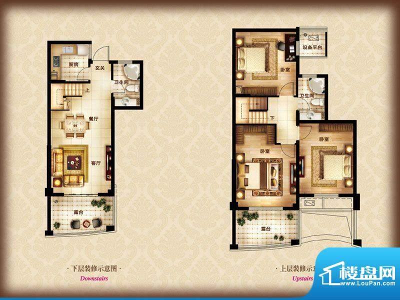 金色水岸A-3 3室2厅面积:110.00m平米