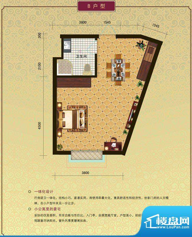 晶园晶街B户型 1室1面积:0.00m平米