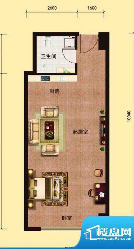 邦鼎富都户型1 1室1面积:52.00m平米