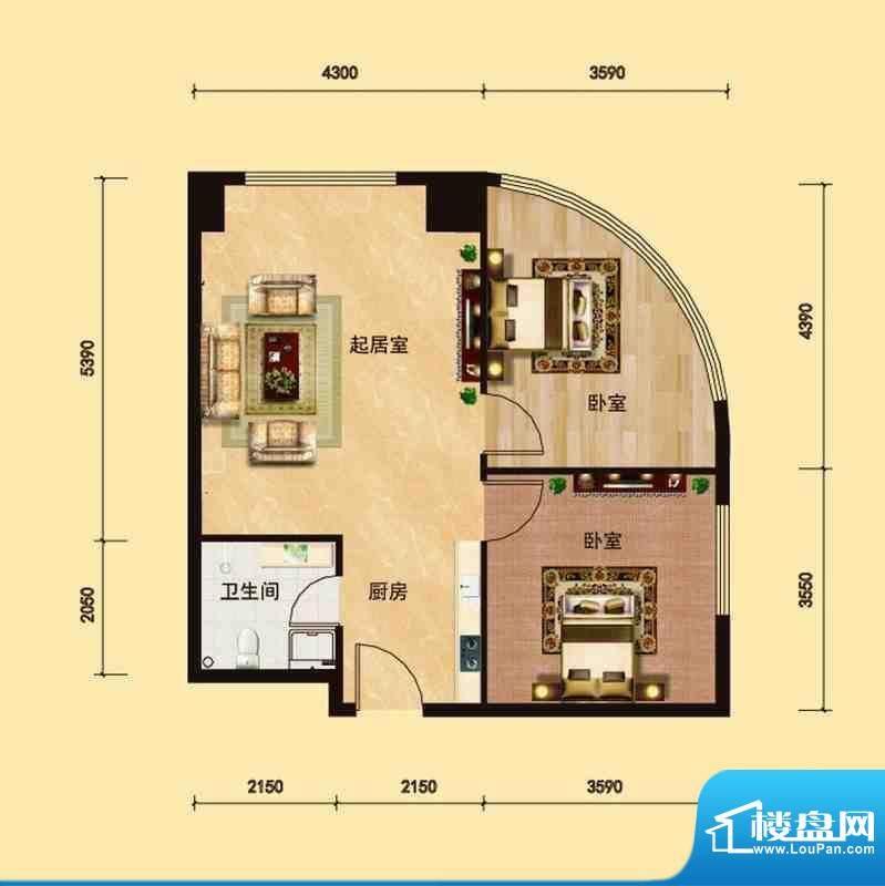 邦鼎富都户型2 2室1面积:81.00m平米
