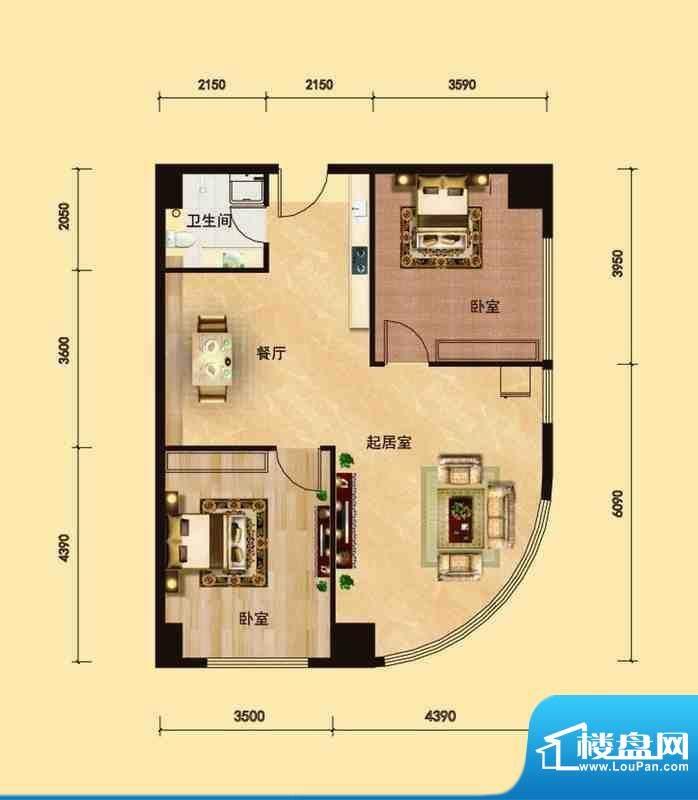 邦鼎富都户型3 2室2面积:104.00m平米