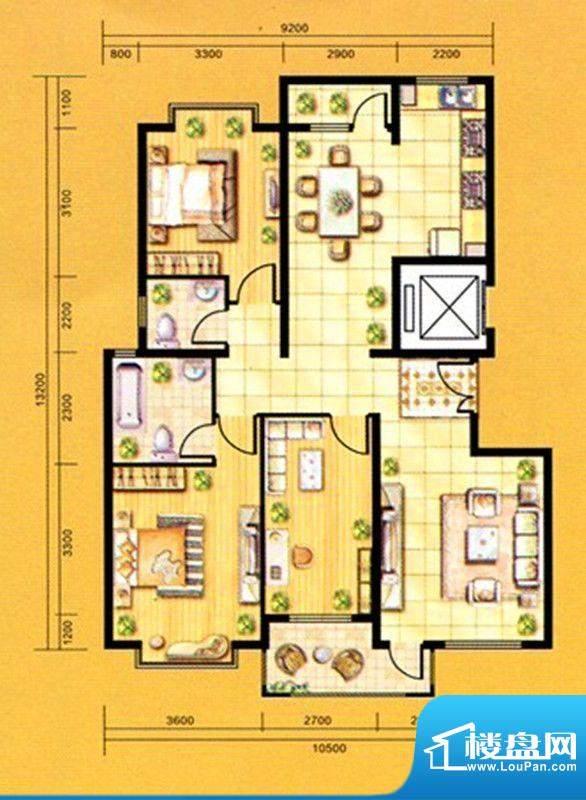 亿峰国际户型图2 3室面积:144.00m平米