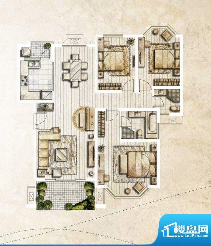 银丽高尔夫公寓F户型面积:138.78平米