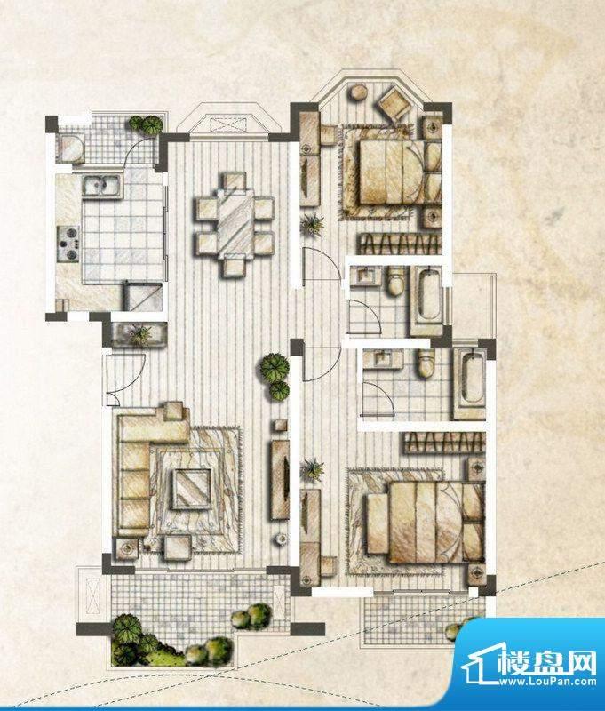 银丽高尔夫公寓B户型面积:121.52平米