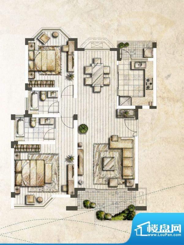 银丽高尔夫公寓A户型面积:119.37平米