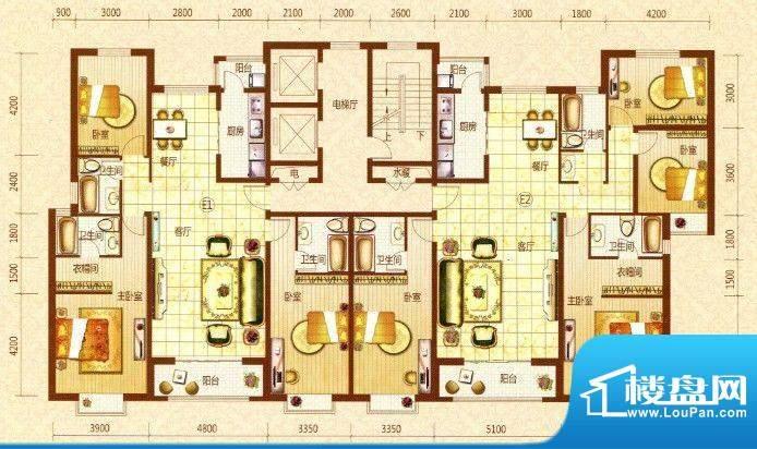 恒元·晨境苑E户型平面积:194.82m平米