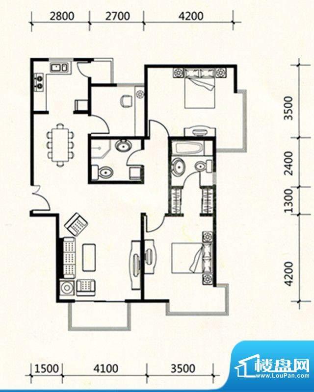 三联北尚户型A1 3室面积:126.79m平米
