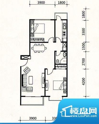 三联北尚户型C1 2室面积:99.41m平米