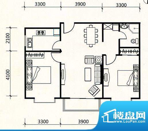 三联北尚户型C2 2室面积:89.53m平米