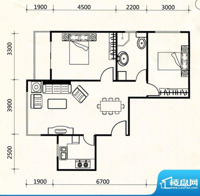 三联北尚户型C3 2室面积:97.47m平米