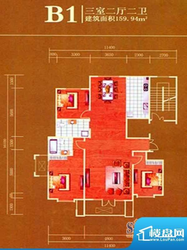 万正明珠B1户型图 3面积:159.94m平米