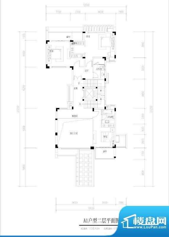 尚东紫御A1户型二层面积:108.00平米