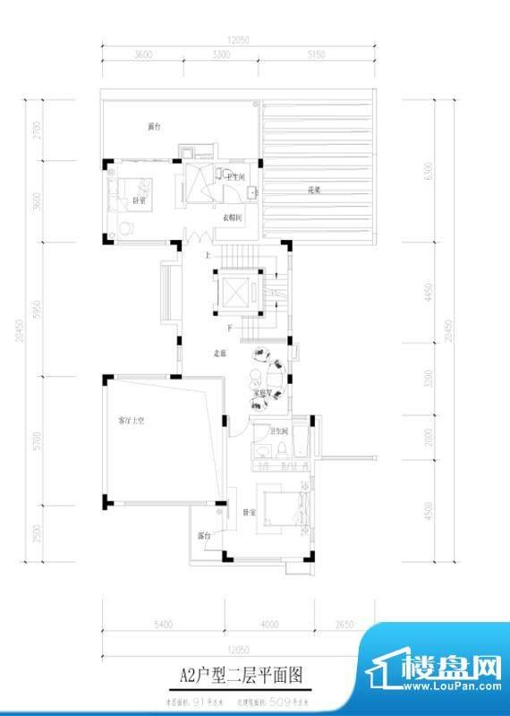 尚东紫御A2户型二层面积:91.00平米