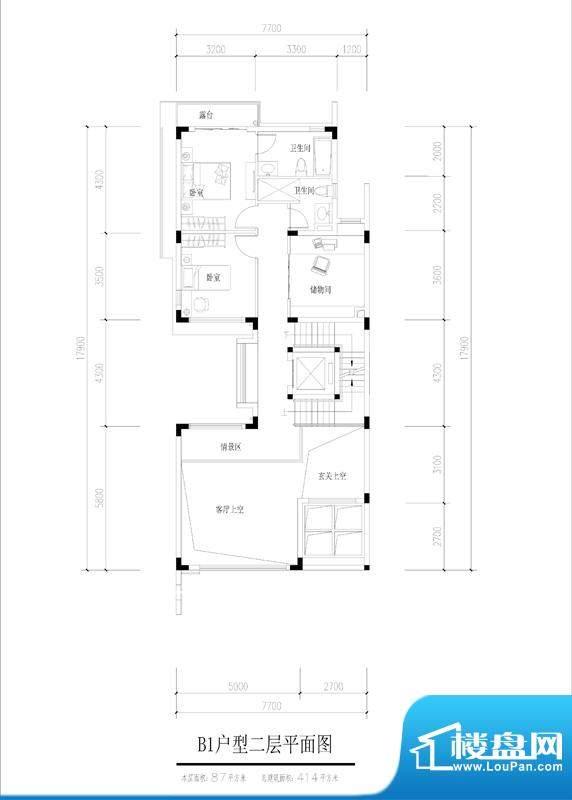 尚东紫御B1户型二层面积:87.00平米
