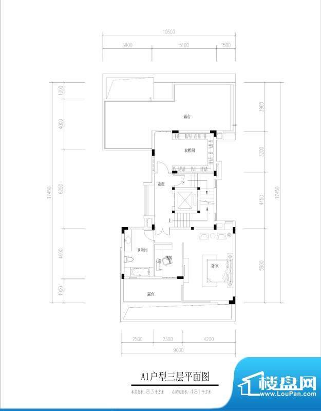 尚东紫御A1户型三层面积:83.00平米